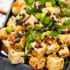 Authentic home-style Mapo tofu with chili bean sauce and Sichuan pepper.