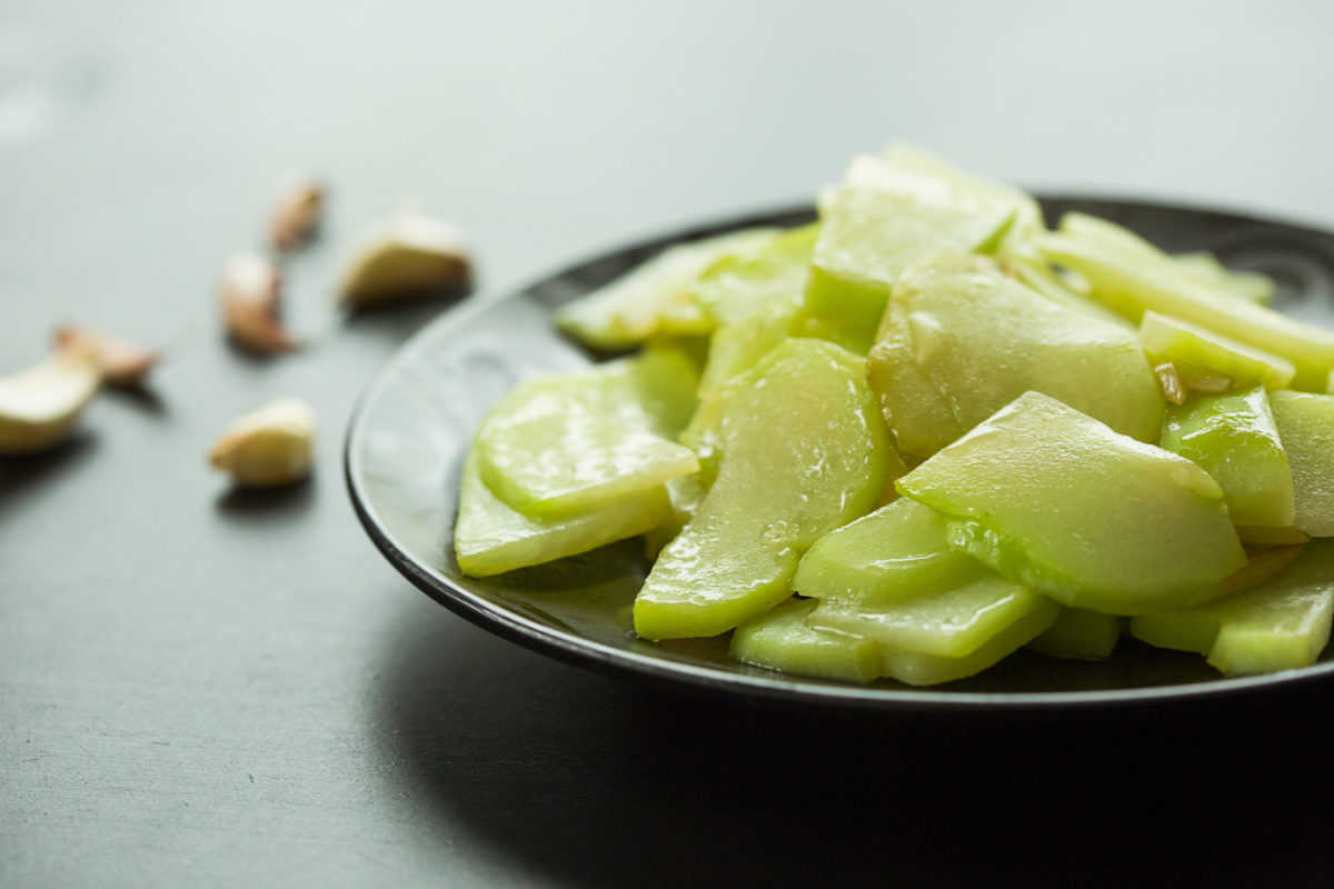 Stir fried choko / chayote with garlic