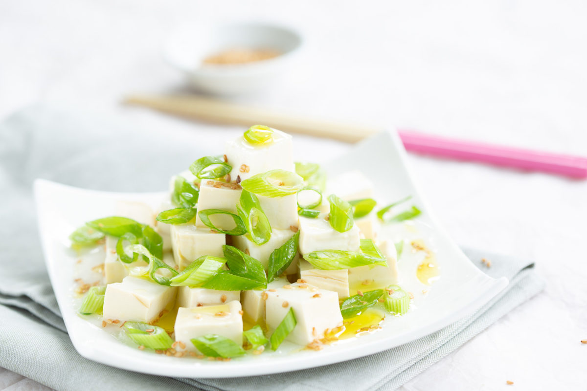 Tofu and spring green onions salad