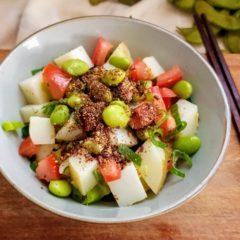 Edamame green soy bean with potato salad.