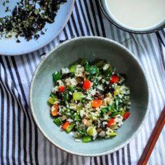 Bok-choy and Shiitake mushroom with steamed rice
