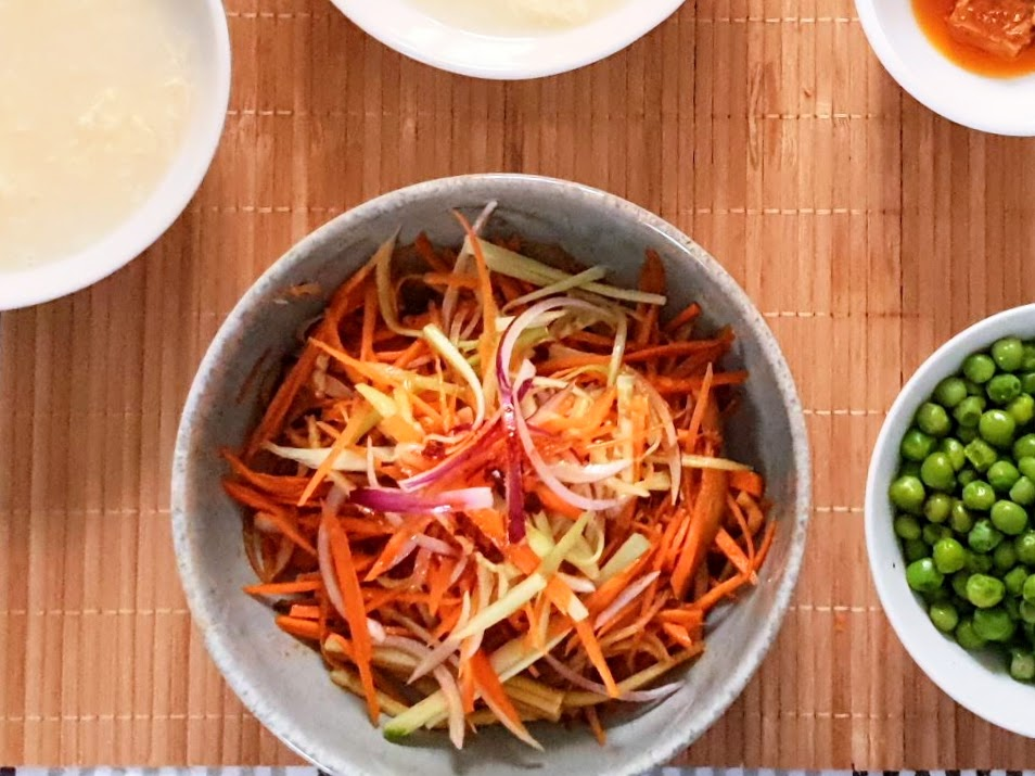 Chinese home style Red onion and carrot salad