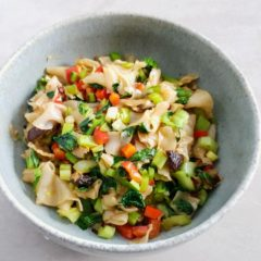 Rice noodle stir-fry with tatsoi  and shiitake mushrooms