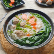 Instant meatballs in noodle soup