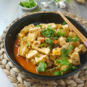 Fresh tofu stewed in miso flavored sauce