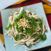 Steamed king oyster mushrooms with garlic and cilantro